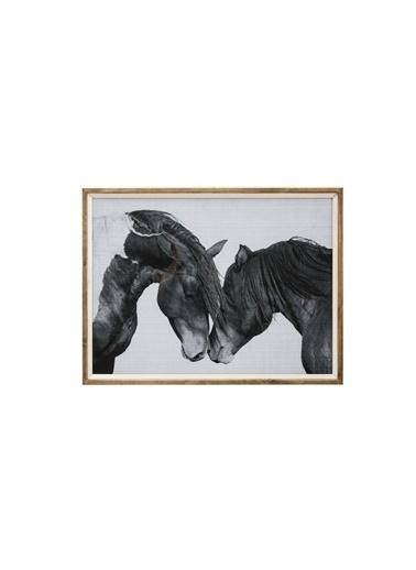Warm Design Köknar Çerçeveli Atlar Duvar Dekoru Siyah